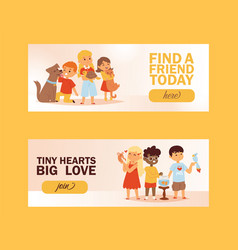 Children with pets friendship banner vector