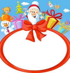 christmas bow frame wit Santa Claus and gifts vector image
