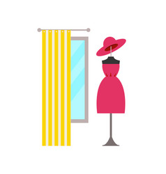 Clothing store and dress hat vector