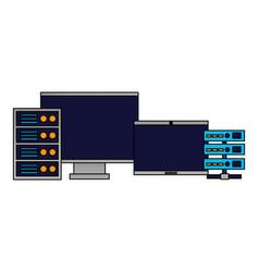 Computer monitor laptop database server vector