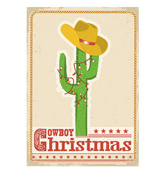 Cowboy christmas card with cactus and western hat vector