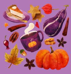 cozy pumpkin spice clipart set hand drawn vector image