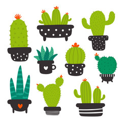 cute cactus set without eyes for kids vector image