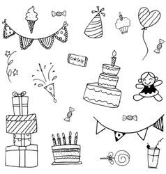 Doodle art birthday for kids vector