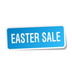 Easter sale square sticker on white vector