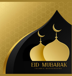 Eid mubarak creative greeting with mosque top vector