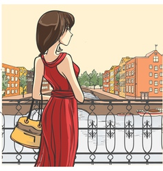 Elegant slender lady and urban panorama vector image