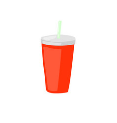 Fast food drink take away soda with straw icon vector