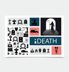 Flat death black elements composition vector