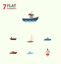 flat icon vessel set of cargo delivery yacht and vector image vector image