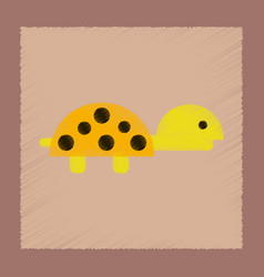 Flat shading style icon sea turtle vector