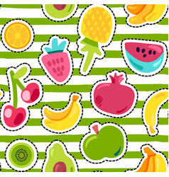 Fresh summer juicy fruit painted seamless pattern vector