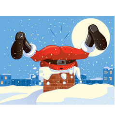funny santa claus stuck in the chimney cartoon vector image