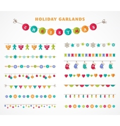 Garland - patterns brushes for Christmas vector image
