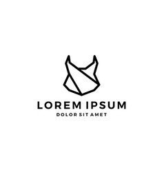 geometric lynx head black logo icon line outline vector image