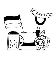 german traditional hat and oktoberfest icons vector image