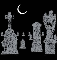 Grave yard scene vector
