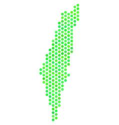 green hex tile israel map vector image