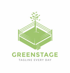 Green stage logo design template vector