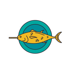 grilled fish icon cartoon style vector image
