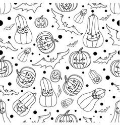 halloween seamless background with batspumpkin vector image