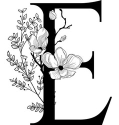 Hand drawn floral e monogram and logo vector