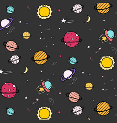 hand drawn space pattern background vector image