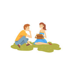 happy couple in love resting on grass young man vector image