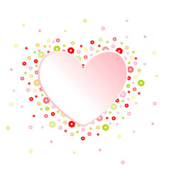 heart and flowers frame vector image