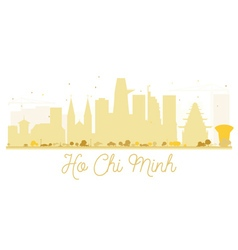 Ho Chi Minh City skyline golden silhouette vector image