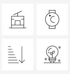 Isolated symbols set 4 simple line icons of vector