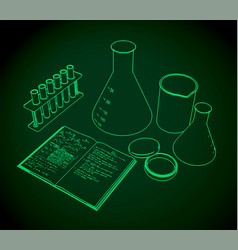 Laboratory test tubes flasks and workbook vector