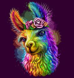 Lama alpaca sticker design abstract multicolore vector