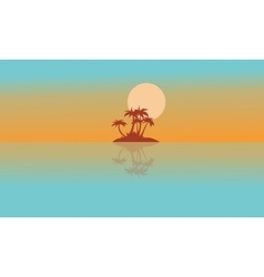 Landscape island with reflection silhouettes vector