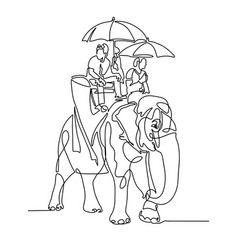 Line drawing - people under umbrellas from the sun vector