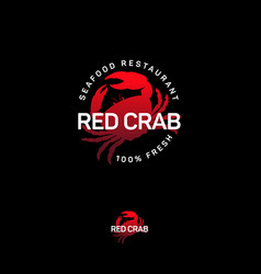 Logo red crab seafood restaurant emblem vector