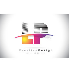 Lp l p letter logo design with creative lines and vector