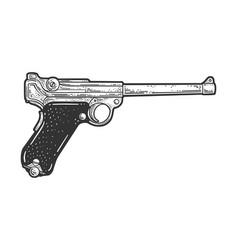 Luger pistol sketch vector