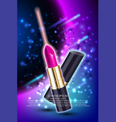 Makeup red lipstick advertising vector