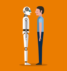 Man and articial intelligence robot together vector