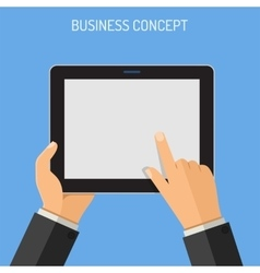 Man holding tablet PC in hand vector image
