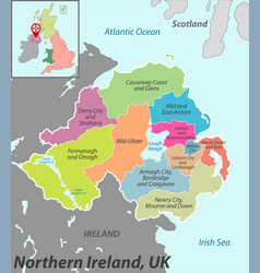 Map northern ireland with districts vector