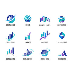 marketing finance sales and business logos vector image