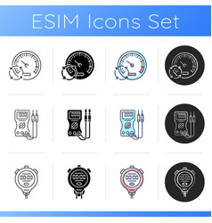 Measuring tools icons set vector