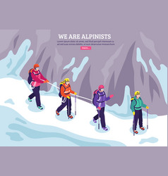 Mountaineering isometric winter background vector