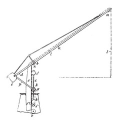 Naval crane a lifting machine vintage engraving vector
