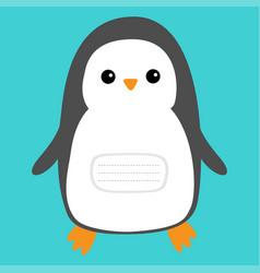 Notebook cover penguin cute cartoon character vector