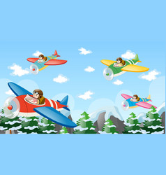 people flying plane over mountain vector image