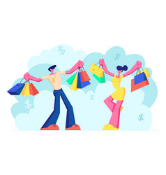 people holding shopping bags with purchases vector image