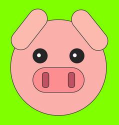 Pig head in cartoon flat style vector